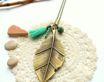 Leaf and tassel necklace  greenery