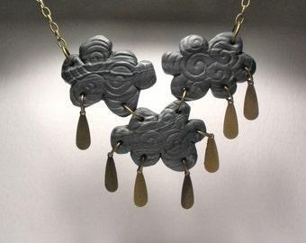 Thunderstorm Cloud Necklace - Raincloud Jewelry