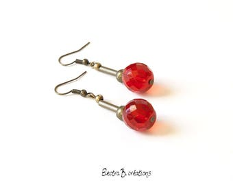 Earrings bronze brass and faceted red Czech glass beads