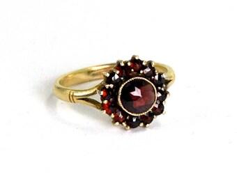Antique Victorian Bohemian Garnet Ring Tiered Design 830 Silver Vermeil Size 7 Circa 1900