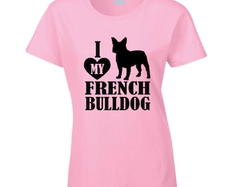 Heart French Bulldog T Shirt