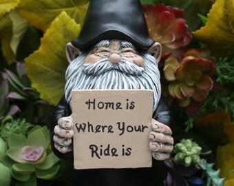 Biker Gnome Statue   Custom Motorcycle Gnome   Concrete Garden Art