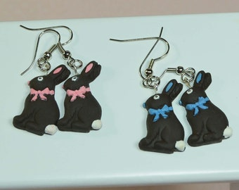 Chocolate Bunny Earrings. Rabbit Earrings. Your choice: Pink or Blue. Polymer clay. Great Easter Gift