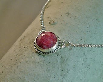 "Natural Ruby Sterling Oxidized Round Pendant with 19"" Sterling chain"
