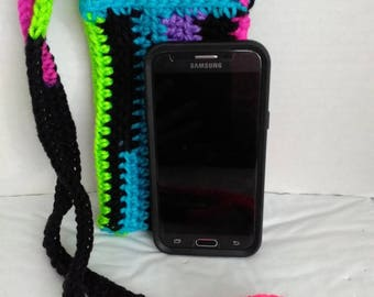 Crochet bright stripes cross body cell phone pouch bag cozy