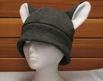 Fox Hat - Gray Fox Ear Fleece Mens Womens Hat by Ningen Headwear