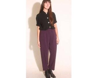 Vintage 1980s Elastic Eggplant Purple Flood Trouser Pants size M
