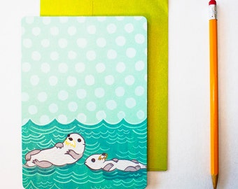 Father's Day Card - Otter Card for Dad - Happy Father's Day Card - Card for Husband Card for Fathers Day card for him