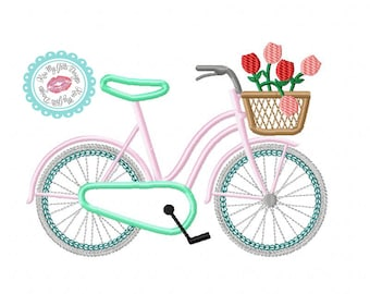 Bicycle with Basket of Flowers Machine Embroidery Applique Design