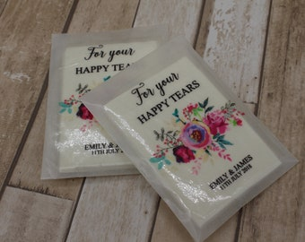Personalised Wedding favour tissues for wedding ceremony-For your Happy Tears-glassine packet-Pinks & mint