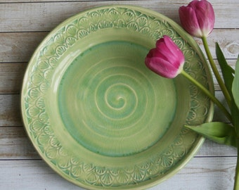 Spring Green Dinner Plate Handmade Pottery Dinnerware Ready to Ship Made in USA & Rustic White and Ocher Dinner Plates Set of Four Handmade