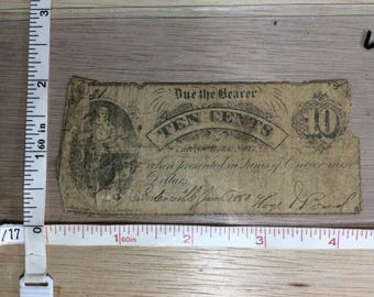 1863 Ten Cent Paper Currency Money Centerville Used