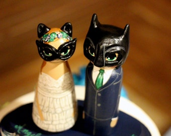 Wedding Cake Topper / Custom Painted Wood Peg Dolls with Plaque / Superhero