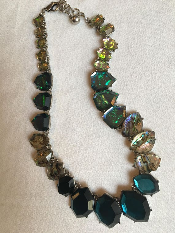 Glamorous  Deep Ocean Blue & Chic Faux Abalone Polished Shell Collared Resort Aquatic Themed Statement Necklaces