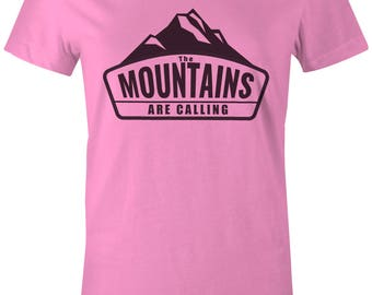 The Mountains Are Calling Women's T-Shirt, Camping Shirt, Running, Skiing, Snowboarding, Hiking, Hiker - Pink & Black