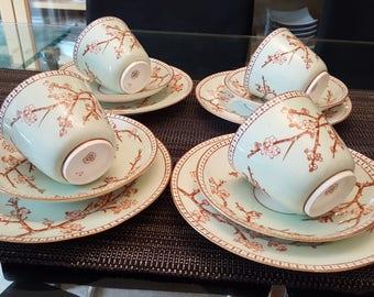 Antique EJD Bodley 1840s Vintage Cherry Blossom Bone China Tea set of 4 cups saucers & Antique bone china | Etsy
