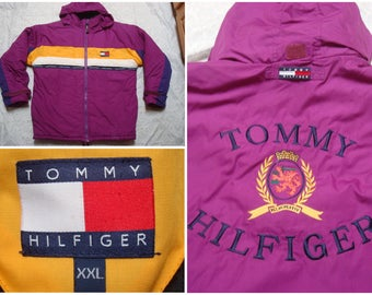 Vintage Retro Men's 90's Tommy Hilfiger Parka Jacket Puffer Purple Yellow White Blue Hood Spell Out Big Logo Snow Insulated Streetwear XXL