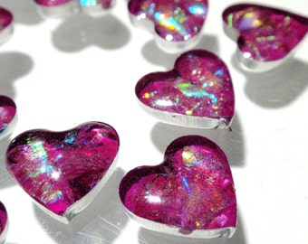 Faux Fire Opal Bezel Stone Hot Pink Tiny Heart Cabochons Acrylic Pour Cabs Jewelry Making Phone Case Decoden Multi Media A2