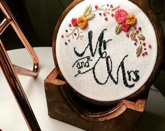 Mr & Mrs 8inch embroidery hoop with florals