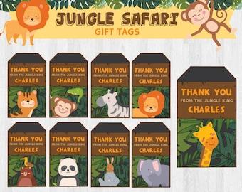 Animal Zoo/ Jungle Safari/ Animal Safari EDITABLE Birthday Party Gift Tags/ Thank You Tag/ Thank You Favours Printable