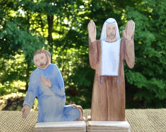 Pharisee and the Tax Collector Parable Wood Figures