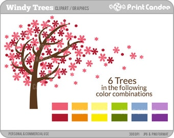 70% OFF SALE! - Windy Trees -  Digital Clip Art - Personal and Commercial Use - graphics, scrapbooking, card making, design elements