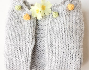Grey baby cardigan, girl sweater with bobbles, shower gift, baby clothes knitted bolero, grey cardigan knitted baby clothes, colour bobbles