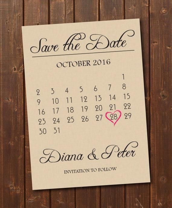 Save the Date Calendar Template/Save the Date Postcard