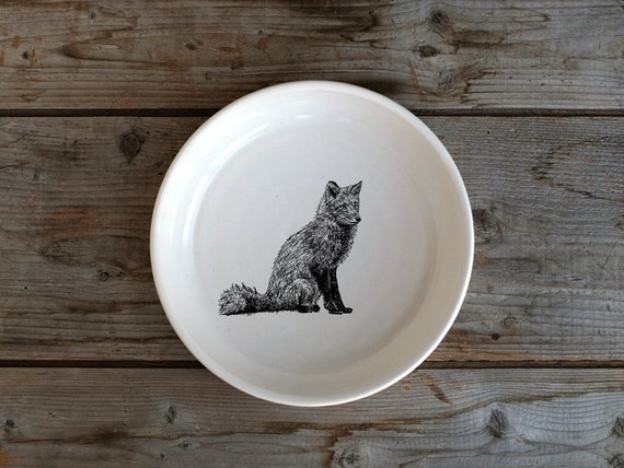 Handmade Porcelain shallow bowl/pasta bowl with red fox drawing by Cindy Labrecque, Canadian Wildlife collection