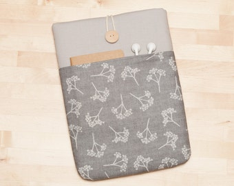 Surface Pro 4 Case, Microsoft Surface Pro sleeve, Surface Book Cover, Surface 3 Case, padded with pockets - Grey floral