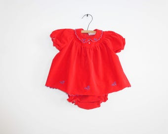 Vintage Red Velveteen Baby Outfit