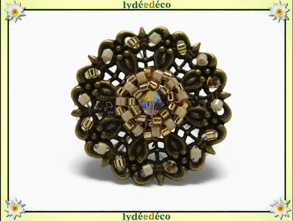Japanese gold beige glass 25mm bronze beads charm retro vintage adjustable flower ring