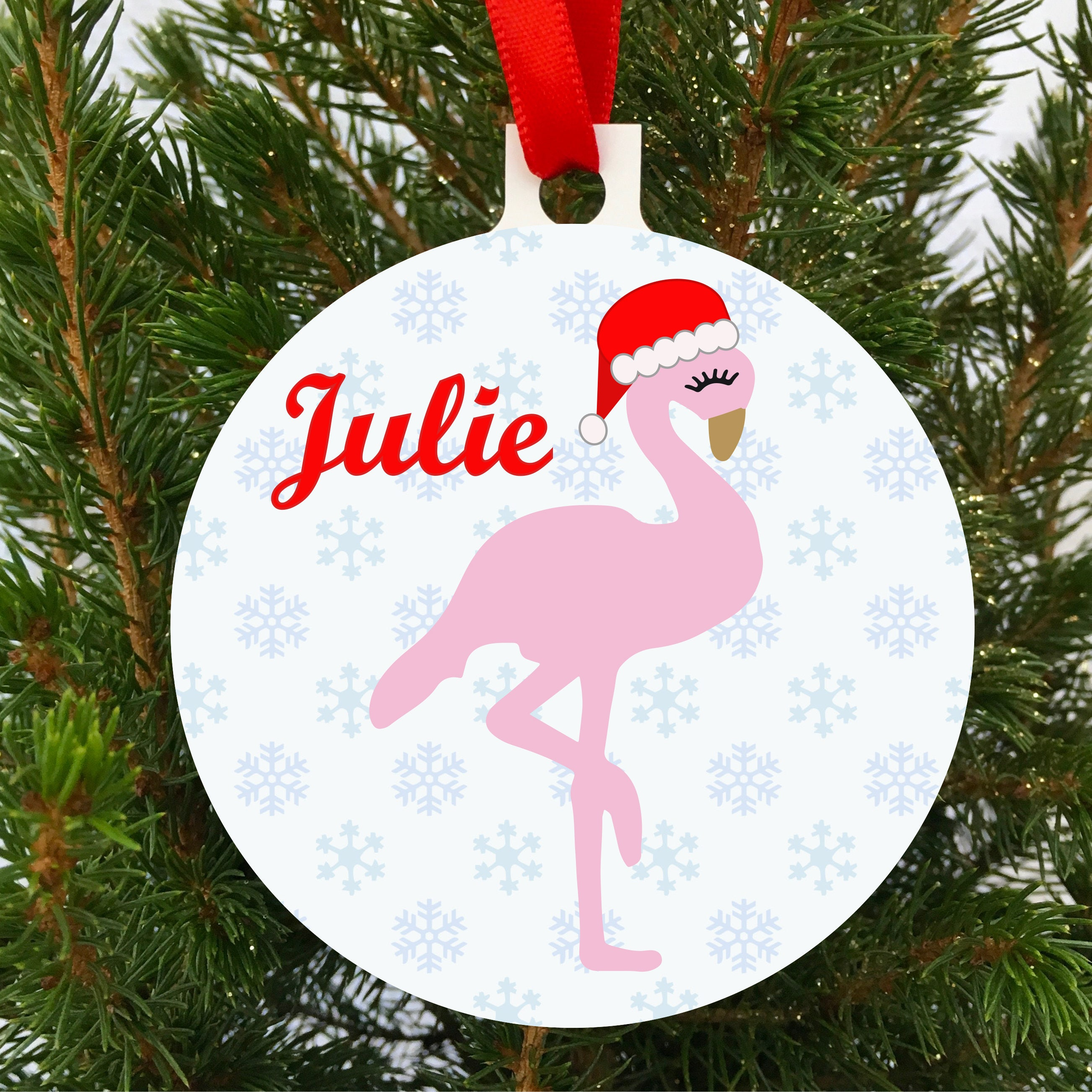 Personalised Flamingo Christmas Tree Decoration Ornament