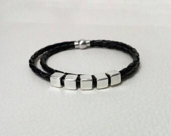 Men's bracelet, leather-like bracelet, metal bracelet, gift for him, magnet bracelet, geometric bracelet, metal bracelet