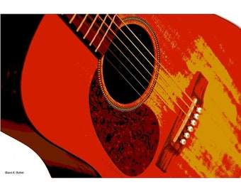 RED Guitar Art, Set of 3, Music Instrument, Musician Wall Hanging, Entertainment Performing, Home Decor, 8 x 10 Giclee Print