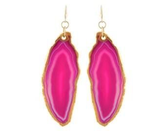 Pink Agate Slice Earrings