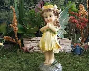 Fairy Garden Miniature Fairy for your Fairy Garden, Lovely Fairy, Garden Fairy, Standing Fairy, Faerie,Yellow, Sunflower Fairy
