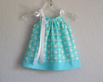 Baby Girls Turquoise Easter Dress - Dress and Bloomers Outfit - Infant Sun Dress with Daisies & Polka Dots - Size Nb, 3m, 6m, 9m, 12m or 18m