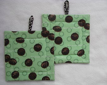 Girl Scout Cookies Potholders, Thin Mints Cookies, Cookie Potholders, Girl Scouts, Hot Pads, Quilted Fabric Potholders, Set of 2