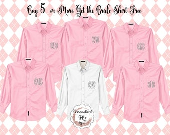 Set of 6 or more  Bridesmaid Shirts, Monogrammed, Oversized, Bridal Party Shirts, Personalized, Getting Ready Gift, Bachelorette Party