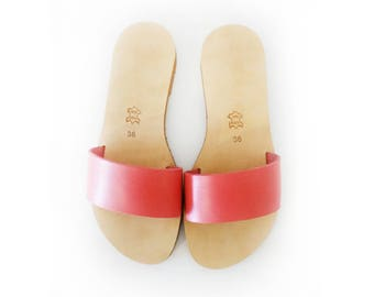 New 2017 colour! Coral slides made from in Genuine Leather - Greek sandals, leather sandals, handmade sandals, slides