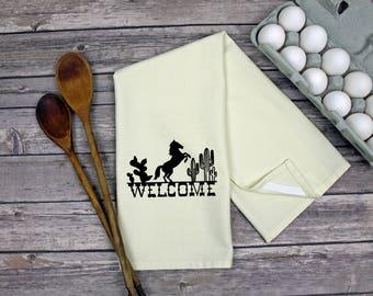 Kitchen Dish Towel - Tea Towel - Hand Towel - Kitchen Towel - Dish Towel - Welcome Western Horse