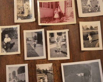 Lot of vintage black and white sepia photographs pictures children kids outside playing balloon fountain shovel running
