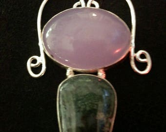 "Beautiful pink and green Silver Chalcedony Pendant 2.25"" x 1.5"""