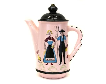 Vintage Pink Tea Pot with Farmer & Wife with Black Spotted Handle (E1810)