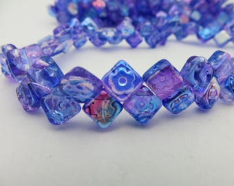 Back in Stock ! CZECH  Shimmering Sapphire and Violet with AB Finish  2 HOLE  Floral  Diamond/Squares  ( 60 Beads ) Always Low Shipping!