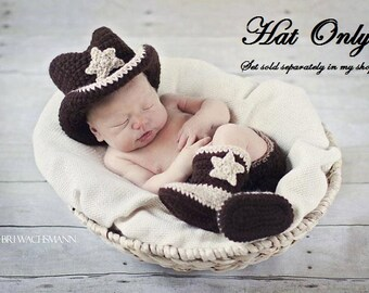 Lil' Crocheted Cowboy Hat- Made to Order- Any Size- HAT ONLY