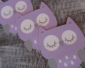 Set of 12 Owls - Lavender, White and Gray