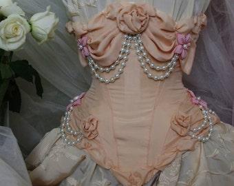 Peach Silk Corset