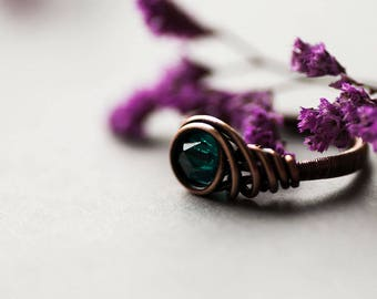 Teal Ring, Delicate Elvish Copper Ring, Woodland Jewelry, Rustic Elvish Teal Ring